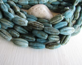 turquoise blue  lampwork glass beads, melon oval wavy tube, matte  rustic gritty aged look , indonesian  14 to 15 x 27-30mm (4 beads) 6BC5-4