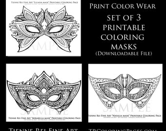 Set of 3 printable masquerade masks Print Color and Wear  created by Tienne Rei  DOWNLOAD ONLY