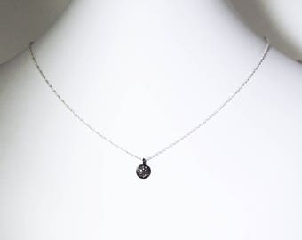 Pavé Diamond Disk Necklace Genuine Diamond Necklace Oxidized Sterling Silver Real Diamond Charm April Birthstone PD-P-109-os