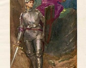 Vintage 1930's  Illustration, Print, Bookplate, Middle Ages Knight, Knight Goes Forth on his First Quest, Knight in Armor Scene