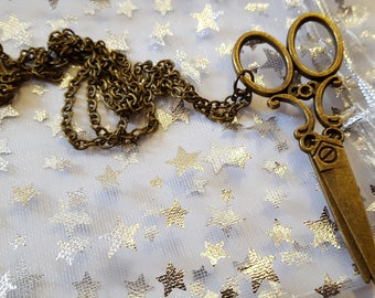 Steampunk Inspired Seamstress scissors Necklace Bronze plated