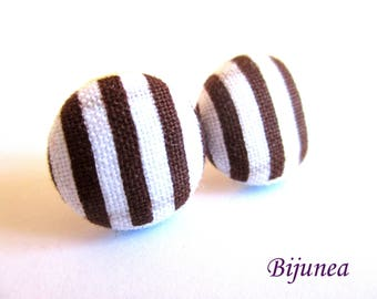 Brown stripes earrings - White stripes stud earrings - Brown stripe post earrings - Brown posts sf1353