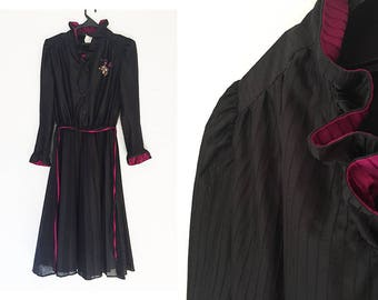 70s Secretary Dress in Black and Red-Violet Dark Magenta with Ruffle Neckline and Poet Long Sleeves Pleated Skirt Side Zipper Office Dress
