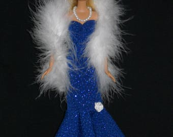 3 Piece Outfit Barbie Doll Dress Handmade Glittery Blue Sheath Dress with Boa and Necklace