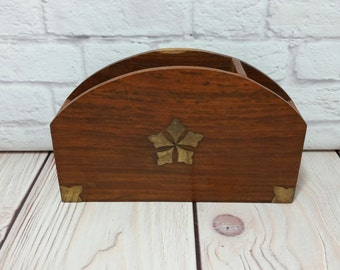 Vintage Wood Desk Caddy with Brass Accents Letter Holder Mail