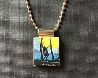 Vintage Hawaiian Hula Girl Jewelry, recycled and handmade scrabble tile jewelry, vintage hula girl pendant, hula girl silhouette necklace