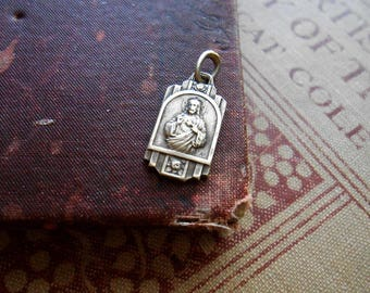 sacred heart jesus charm made in FRANCE virgin mary - art deco relief pendants antique vintage catholic pendant
