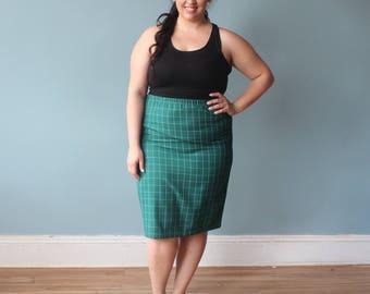 plus size skirt | green grid pattern skirt | 90s XXL