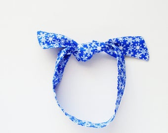 Snowflakes Head Scarf / Bright Blue & White Multipurpose Neck Tie, Handbag or Walker Adornment, Pet Neckerchief / Unique Gift Under 25