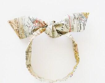 Old World Maps Head Scarf / Multipurpose Hair Accessory, Neck Tie, Handbag or Walker Adornment, Pet Neckerchief / Rockabilly Gift Under 25
