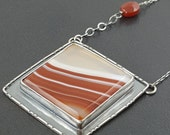 RESERVED FINAL PAYMENT Sardonyx Necklace, red white orange, sterling silver, large pendant, red and white stripes, large square pendant