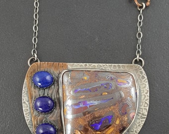 Lapis and Boulder Opal Necklace, mixed metal, boulder opal necklace, sterling silver, blue brown silver, lapis lazul, blue, michele grady