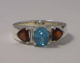 Blue Zircon and Red Garnet Handmade Sterling Silver Ladies 3 Gem Ring size 10.5