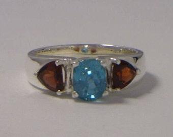 Blue Zircon and Red Garnet Handmade Sterling Silver Ladies 3 Gem Ring size 10.5