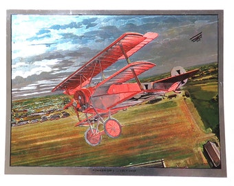 WWI Fighter Planes Wings of Glory Print Folio/ Set of 4 Jim Deneen Color Foil Etch Art