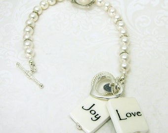 White Swarovski Crystal Pearl Photo Charm Bracelet - P3B7x2