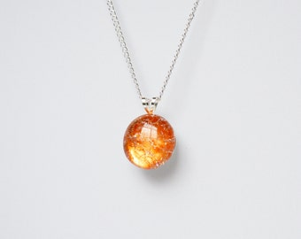 Burnt orange shattered glass cracked fried marble necklace on delicate silver chain