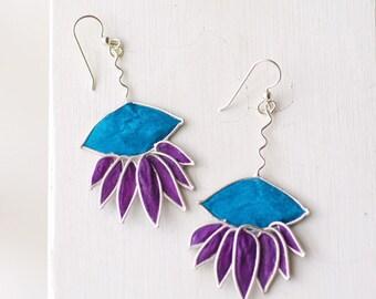 Silver Flower Earrings, Purple Blue Earrings, Daisy Petal Jewelry, Statement Earrings, Large Earrings, Boho Bohemian Jewelry, Bold Wife Gift