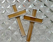 Small Stained Glass Cross Suncatcher or Ornament in Amber- Tan- Honey. Easter decoration - gift.