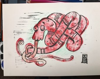 Red Coiled Dragon - ink block print obakemono japanese ghost