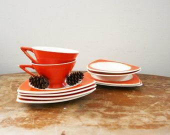 vintage 1930s Salem Tricorne Orange Art Deco Tea Cups Saucers & Bowls