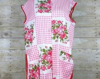 Vintage Pink Red Floral Gingham Smock Vest M L