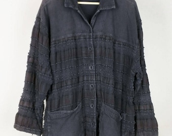 Vintage Faded Black Brown Woven Art to Wear Jacket Misses OSFA
