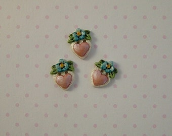 Hanging Heart Button set of 3