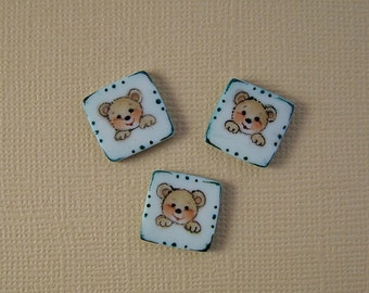 Square Bear Button set of 3