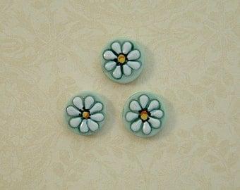Aqua Daisy Button set of 3
