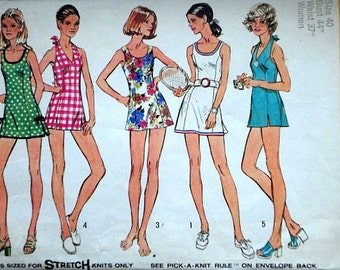 Vintage 70's Simplicity 5696 Sewing Pattern, Misses' Mini-Dress or Bathing-Suit, Halter Bathing-Suit & Panties, Size 40, 44 Bust, Retro Mod