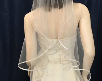 Satin Ribbon Trim Angel Cut Wedding Veil fingertip length