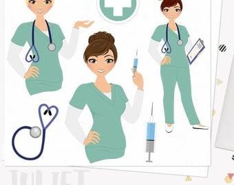 Woman nurse character clipart, healthcare illustration, nursing clipart set with blonde, brunette and auburn hair (Juliet  L065)