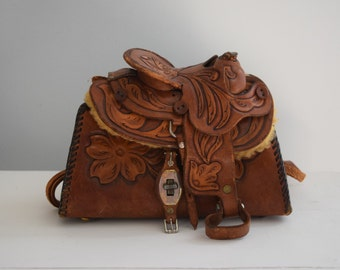 Saddlebag Purse Hand Tooled Leather Shoulder Bag Novelty Purse Horse Lover's Purse Whimsical Purse Western Purse Horse Collectibles