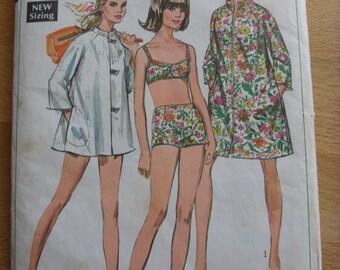 "1968 Coat-Dress, Beach-Coat & Two-Piece Bathing Suit - 36"" Bust - Simplicity 7692 - Vintage Retro 1960s Sewing Pattern"