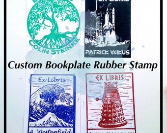 Custom Bookplate Rubber Stamp - Hand Carved