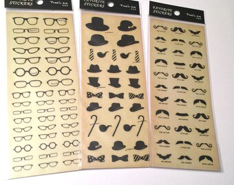 Mustaches, Hats, Bowties, Canes and Glasses Stickers, Removeable, Kawaii