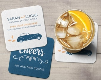 Wedding Coasters | Custom | Vintage Car | Cheers | Personalized