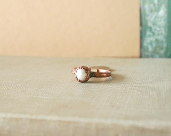 Pearl Ring Electroformed Copper Size 8.25