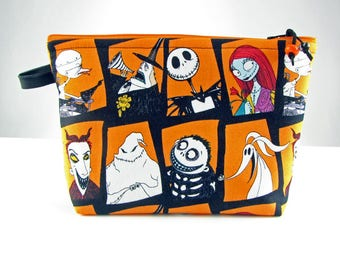 Nightmare Before Christmas, large cosmetic bag, fabric makeup bag, cosmetic travel bag, toiletry bag for her, zipper bag, padded jewelry bag