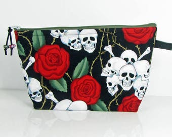Skulls with red roses, large cosmetic bag, fabric makeup bag, toiletry bag for her, cosmetic travel bag, zippered bag, padded jewelry bag