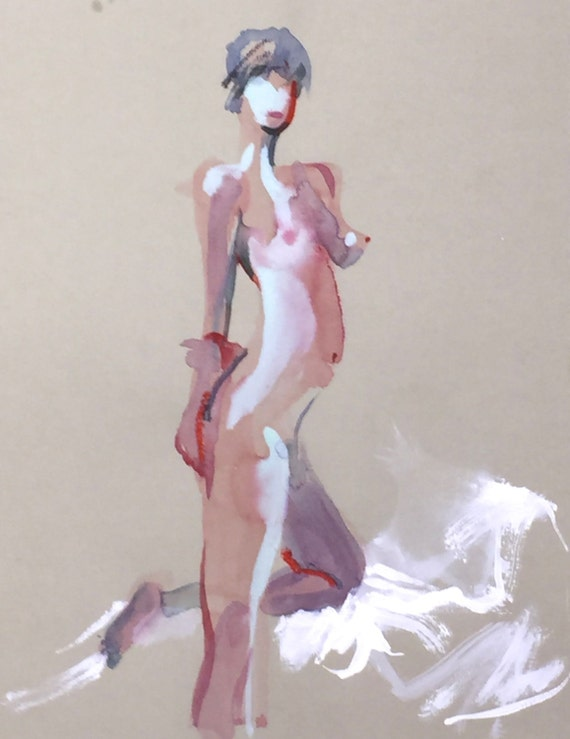 Nude painting- Original watercolor painting of Nude #1363 by Gretchen Kelly