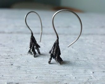 Juniper branch earrings-Sterling silver botanical earrings -Tree branch earrings -Woodland jewelry-Silver twig earring-Fir tree earrings