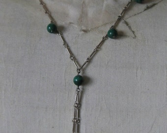 Malachite Green Sterling Necklace Bead Dangle Silver Stone Vintage