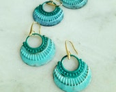 Ombre Mint Patina Earrings, Bohemian Dangles, Brass, Distressed, Aqua Green, Tropical, Summer Jewelry, Teal