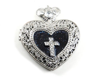 Oversized Locket Pendant - Gothic Lolita / EGL / Mourning Filigree Jeweled Heart with Crystal Cross Accent, Bail, and Black Glitter Enamel
