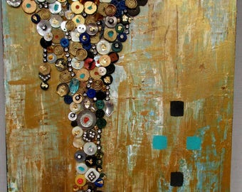 Precious Time Abstract Assemblage on Painted Board