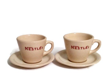 Nestle's china mugs and saucers - Set of two - Inca Ware cups - Shenango - Circa late 1940s to 1950s