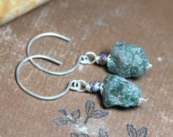 Apatite Earrings Forest Green Rough Gemstone Nugget Earrings Luxe Rustic Jewelry