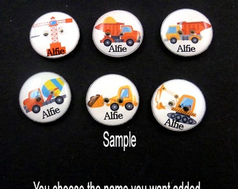6 PERSONALIZED With Your CHILD'S NAME Construction Vehicle Sewing Buttons. Customized with Your Child's Name.  Handmade by Me.